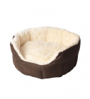Cream Faux Fur and Suede Oval Snuggle Bed